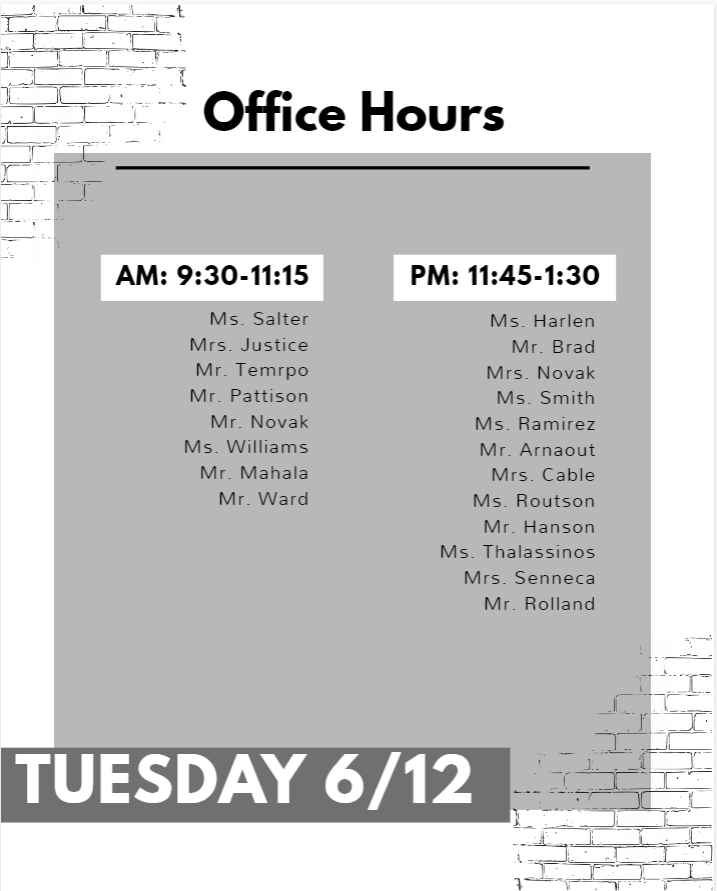 Office Hours Tuesday